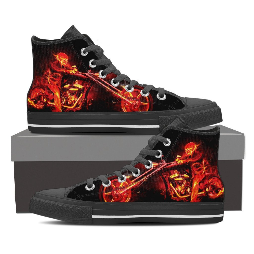 Skull Obsession Shoes Mens High Top - Black - 101 / US8 (EU40) Ghost Rider Men High Tops