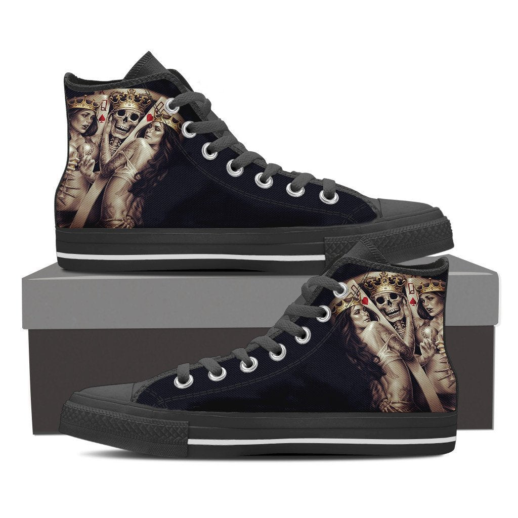 Skull Obsession Shoes Mens High Top - Black - Skull King / US8 (EU40) Skull King Men High Tops