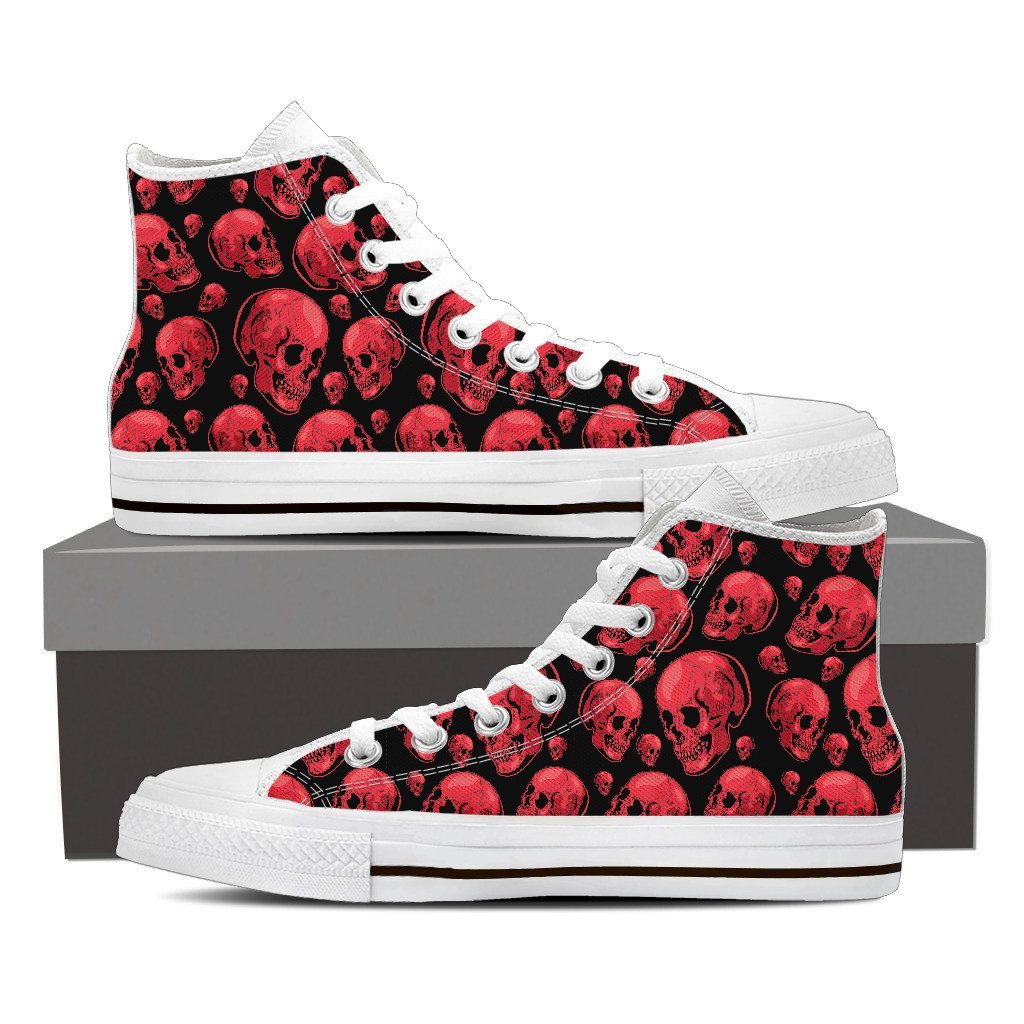 Skull Obsession Shoes Mens High Top - White - 102 / Men US8 (EU40) Red Skull High Tops
