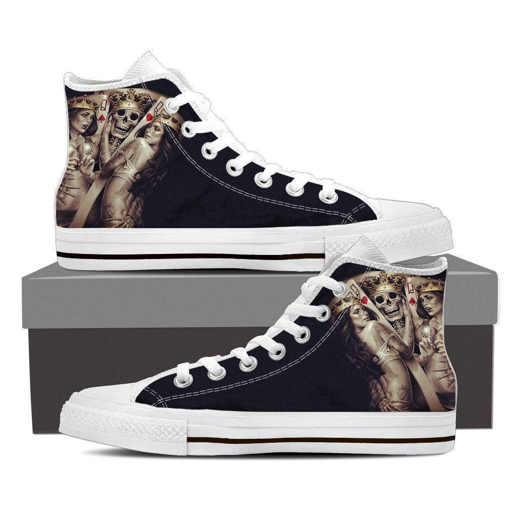Skull Obsession Shoes Mens High Top - White - Skull king 2 / US8 (EU40) Skull King Men High Tops