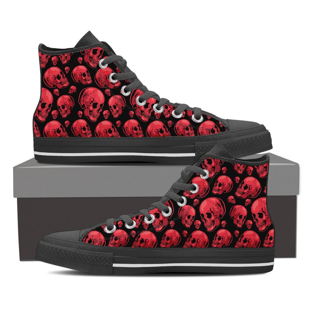 Skull Obsession Shoes Womens High Top - Black - 103 / Women US6 (EU36) Red Skull High Tops