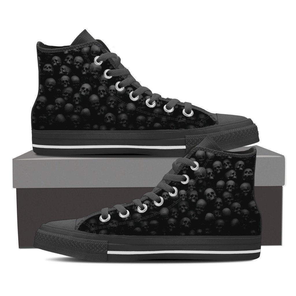 Skull Obsession Shoes Womens High Top - Black - W1 / Women US6 (EU36) Pile of Skulls High Tops