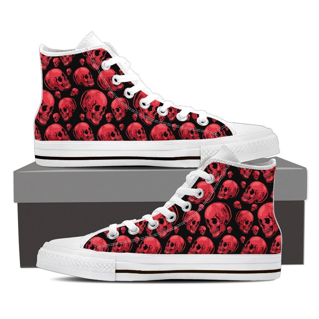 Skull Obsession Shoes Womens High Top - White - 104 / Women US6 (EU36) Red Skull High Tops