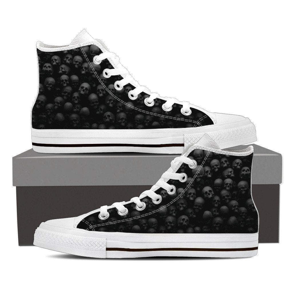 Skull Obsession Shoes Womens High Top - White - W2 / Women US6 (EU36) Pile of Skulls High Tops