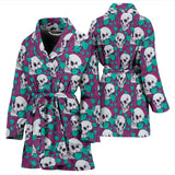 Skull Obsession Skull & Flowers Women's Bath Robe