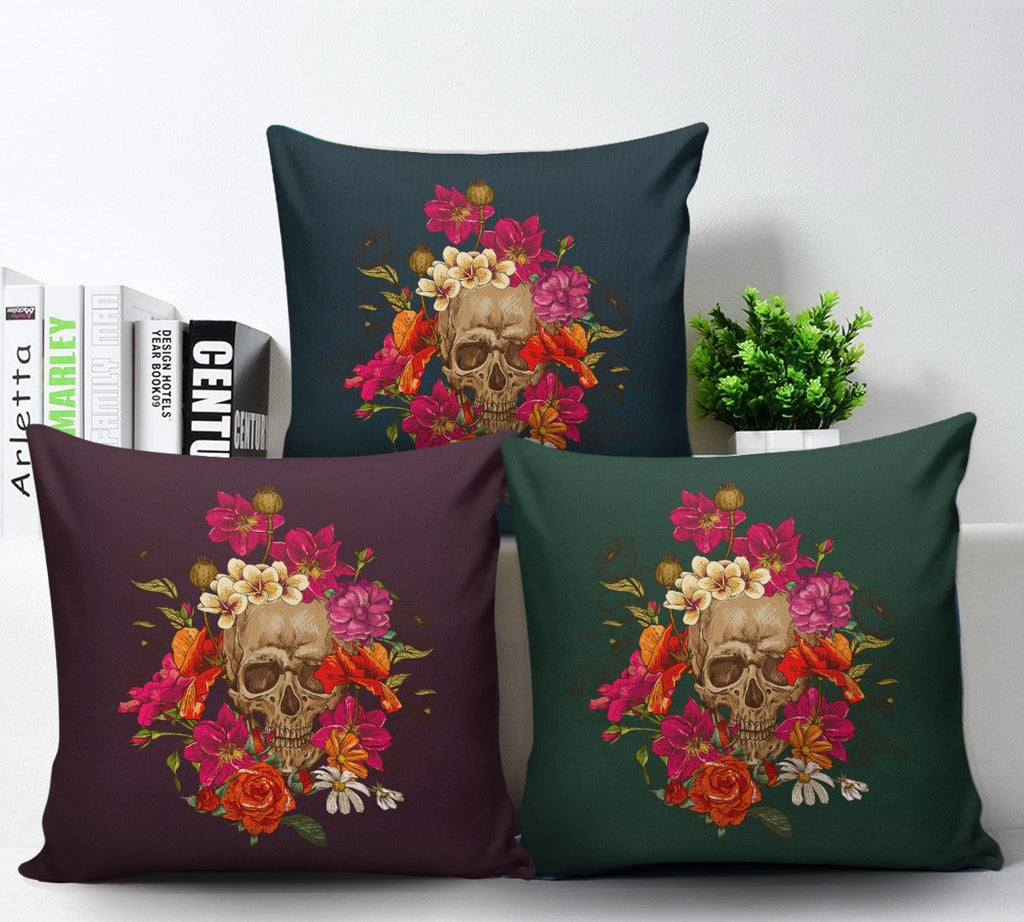 Skull Obsession Skull & Pink Roses Pillow Cover