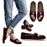 Skull Obsession Skull & Red Rose Women's Casual Shoes