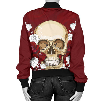 Skull Obsession Skull & Red Roses Bomber Jacket