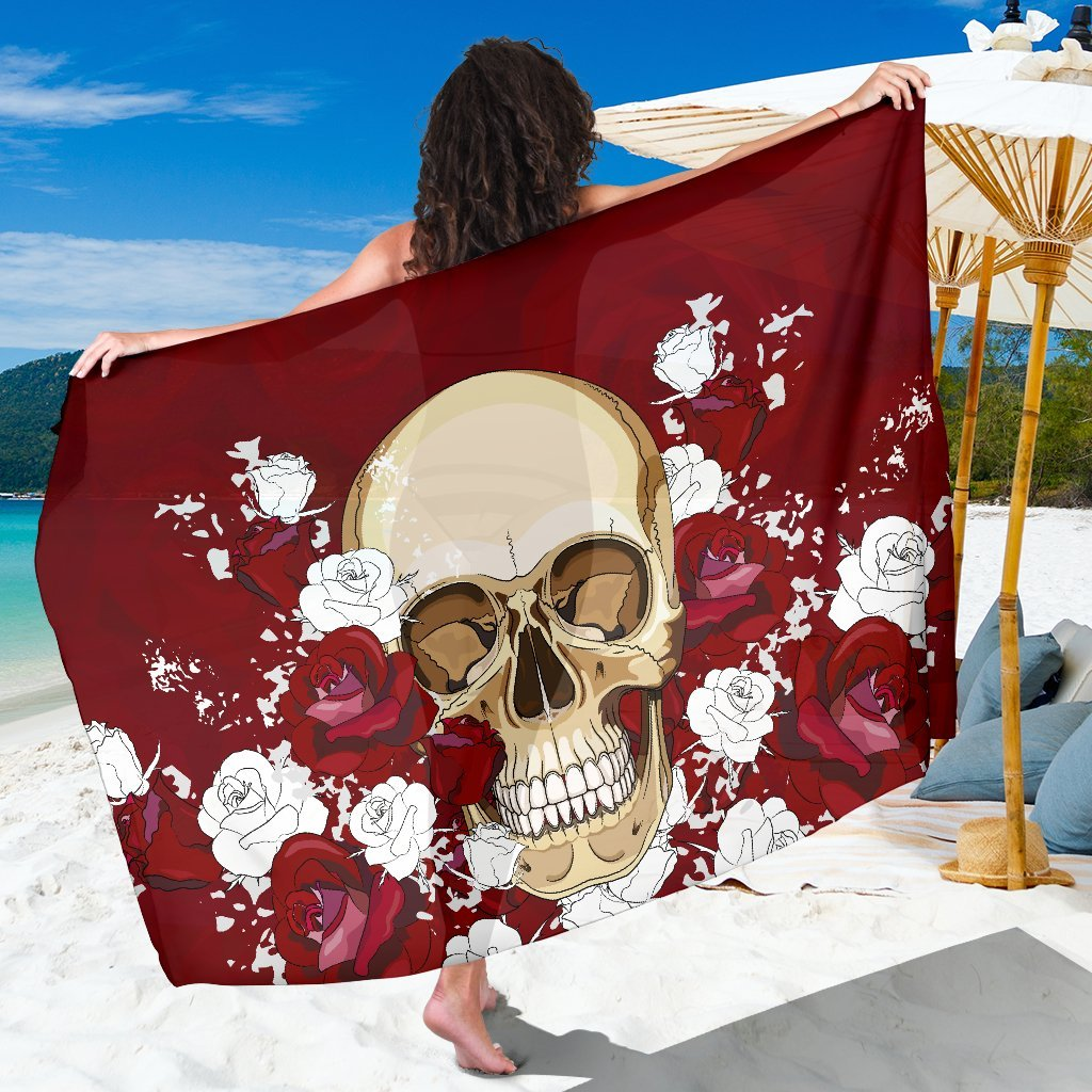 Skull Obsession Skull & Red Roses Sarong