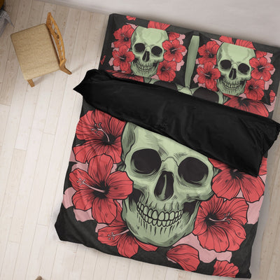 Skull Obsession SKULL & ROSES DARK GRAY Bedding Set