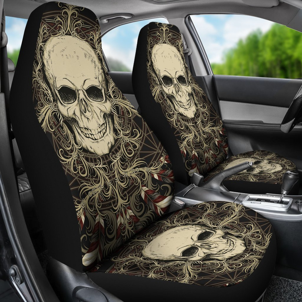 Skull Obsession Skull with Ornamental Composition   Car Seat Covers