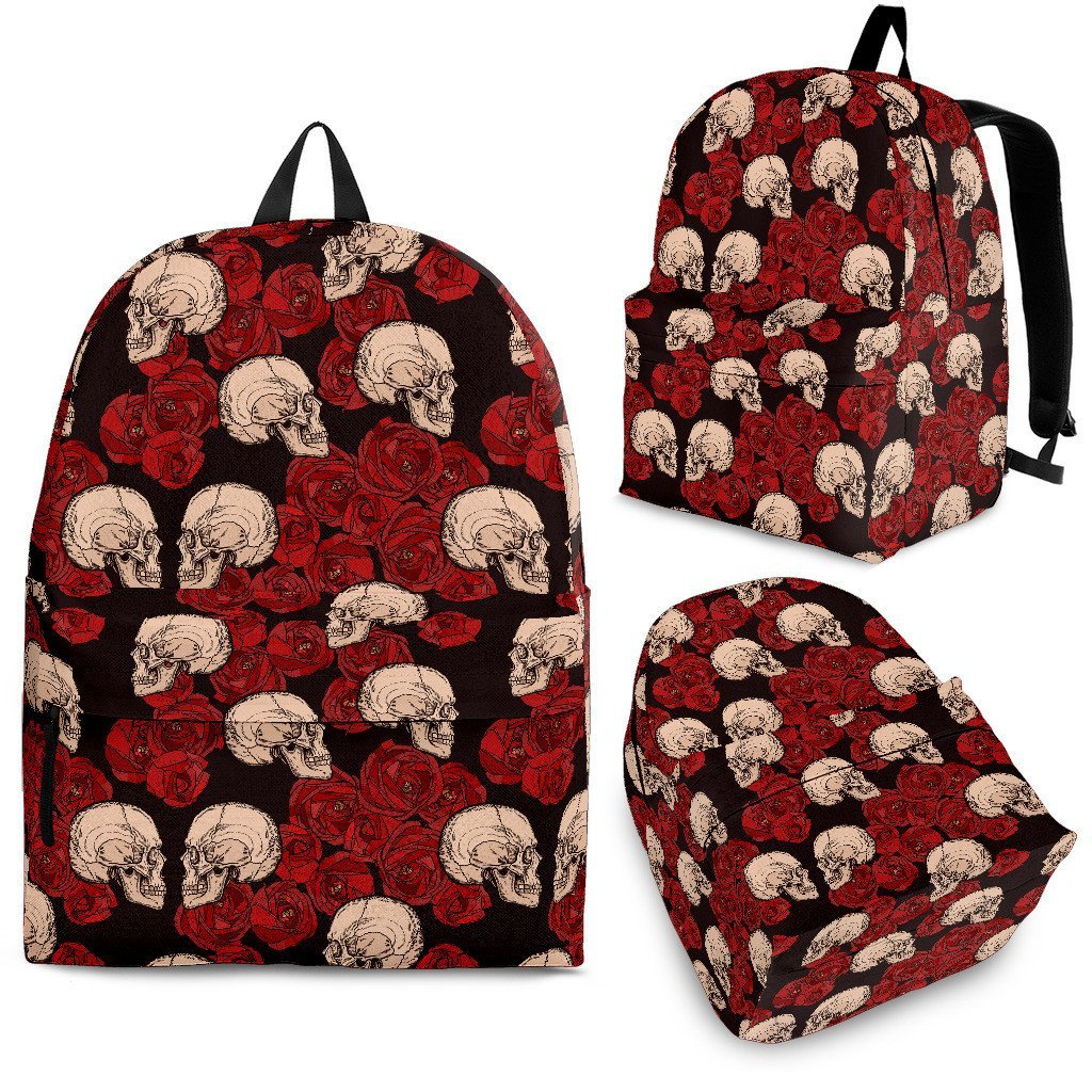 Skull Obsession Skulls & Red Roses Backpack