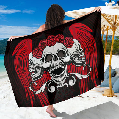 Skull Obsession Triple Winged Skull Sarong