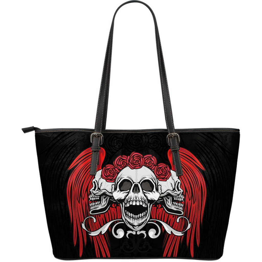 Skull Obsession Triple Wings Skulls Large Leather Tote