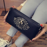 Skull Obsession Wallets Black Skull Leather Long Wallet
