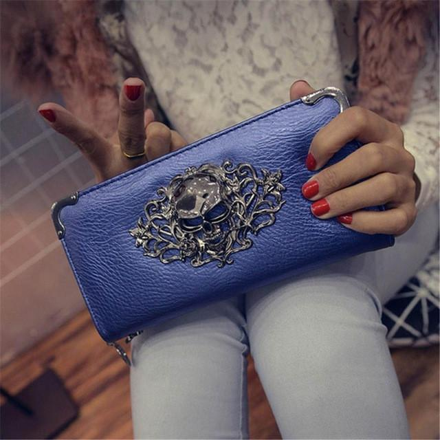 Skull Obsession Wallets Blue Skull Leather Long Wallet