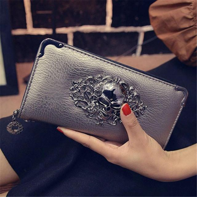Skull Obsession Wallets Champange Skull Leather Long Wallet