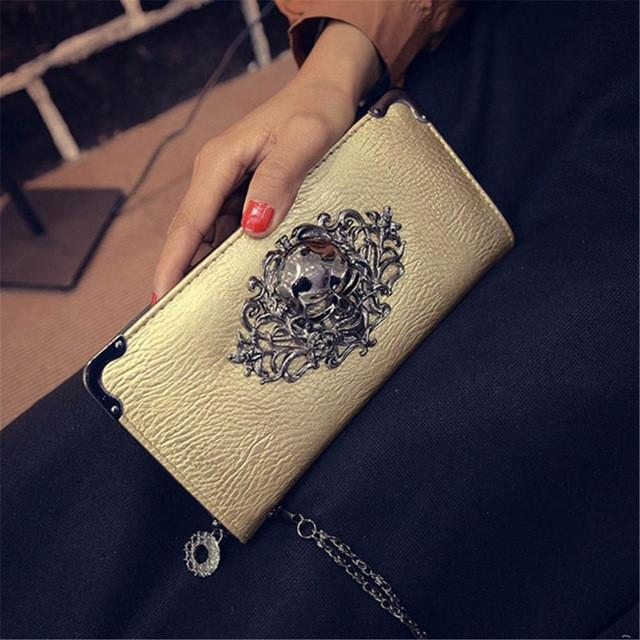 Skull Obsession Wallets Gold Skull Leather Long Wallet