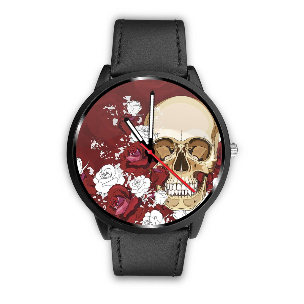 Skull Obsession Watch Mens 40mm / Black Red Roses Skull Watch