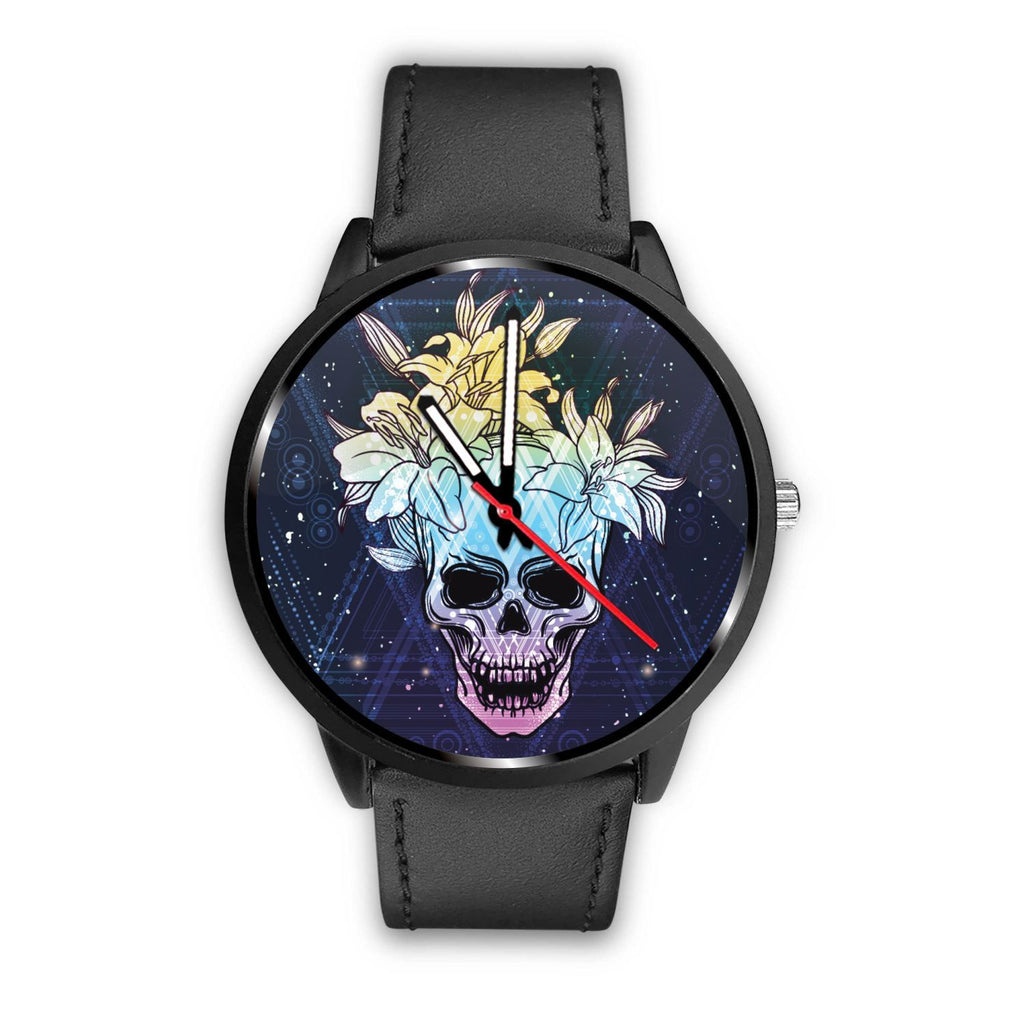 Skull Obsession Watch Mens 40mm / Black Skull & Lily Blue Watch