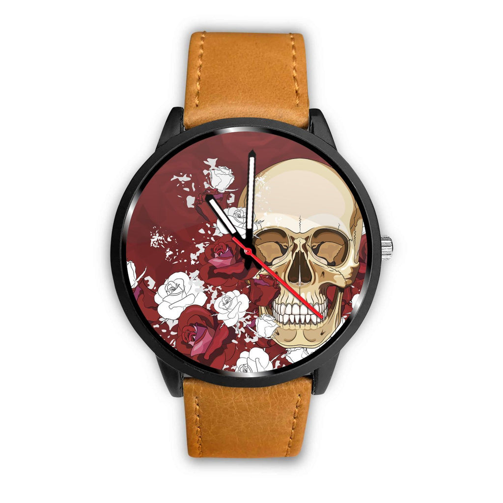 Skull Obsession Watch Mens 40mm / Brown Red Roses Skull Watch