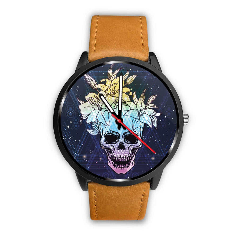 Skull Obsession Watch Mens 40mm / Brown Skull & Lily Blue Watch