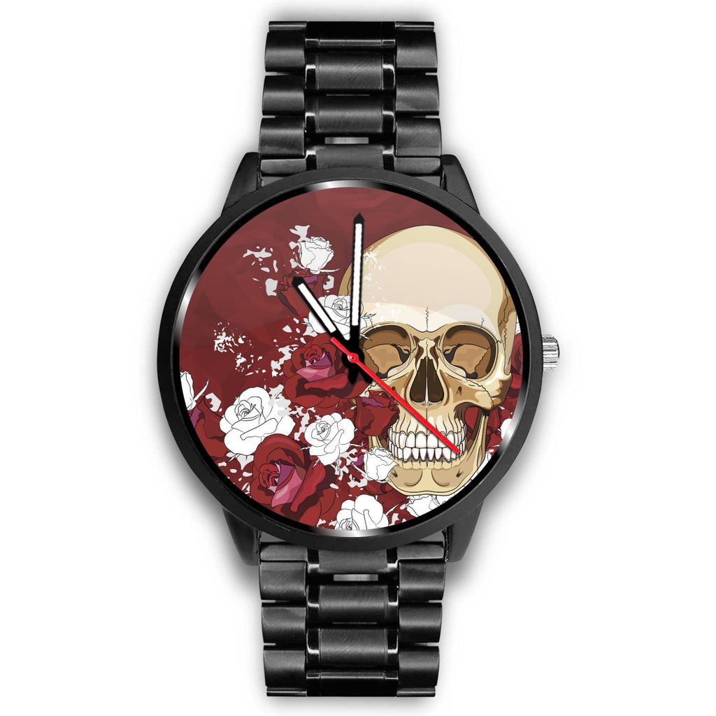 Skull Obsession Watch Mens 40mm / Metal Link Red Roses Skull Watch
