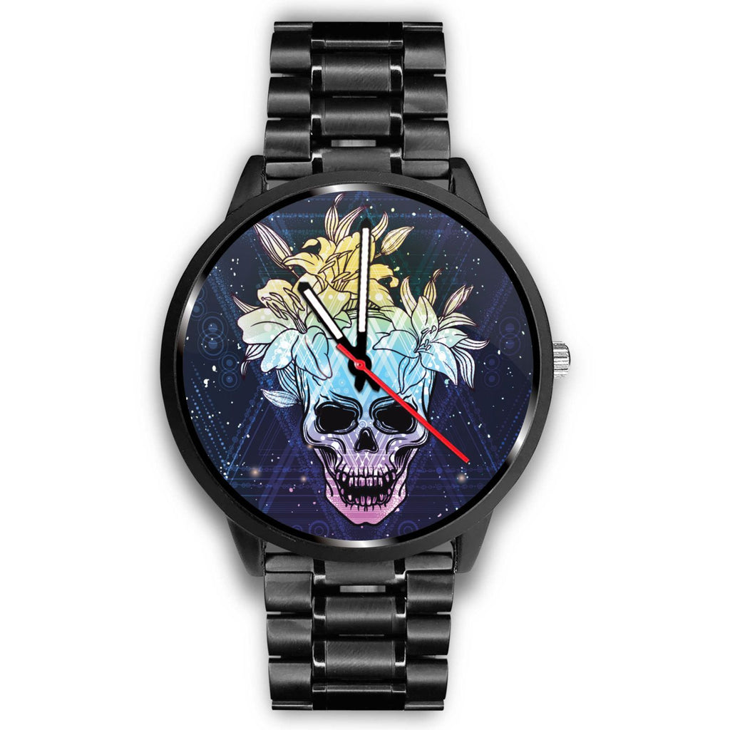 Skull Obsession Watch Mens 40mm / Metal Link Skull & Lily Blue Watch