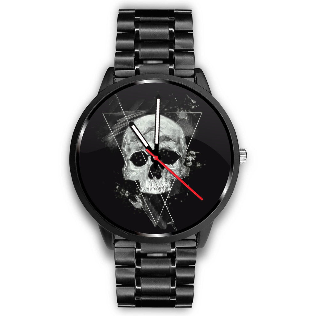 Skull Obsession Watch Mens 40mm / Metal Link Triangle Skull Watch