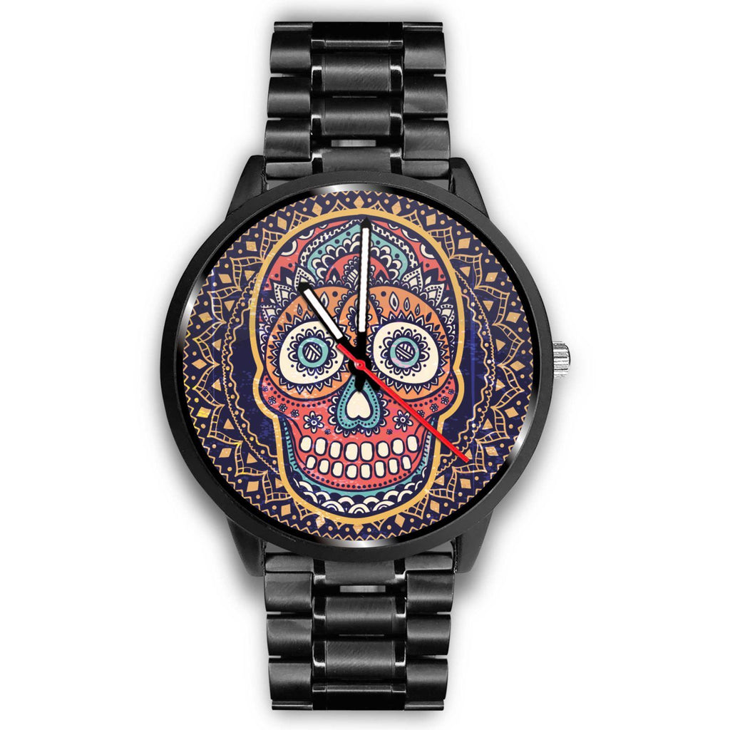 Skull Obsession Watch Mens 40mm / Metal Link Vintage Colored Skull Watch
