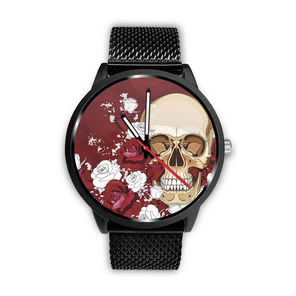 Skull Obsession Watch Mens 40mm / Metal Mesh Red Roses Skull Watch