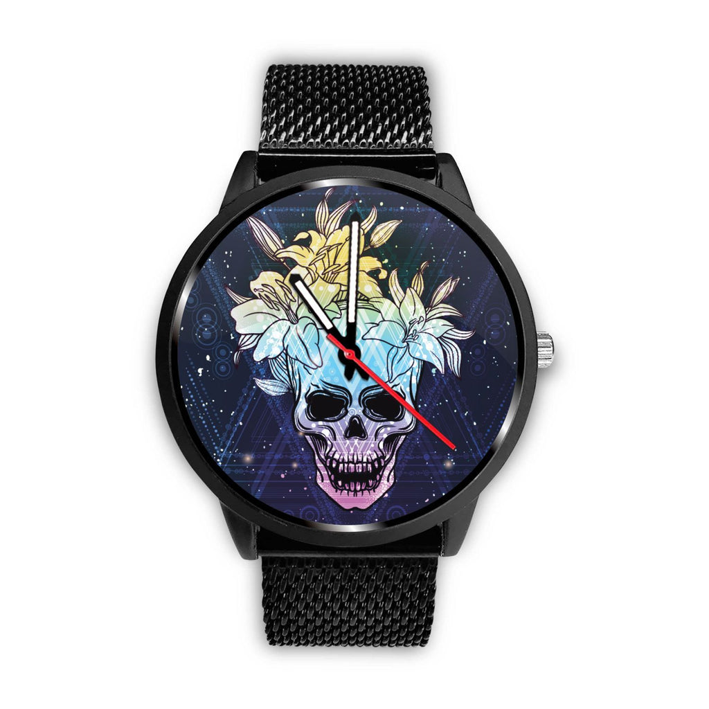 Skull Obsession Watch Mens 40mm / Metal Mesh Skull & Lily Blue Watch