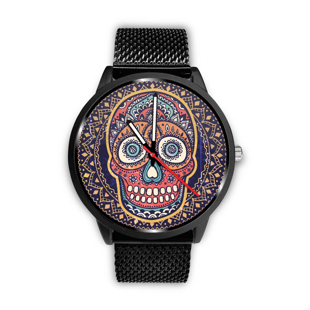 Skull Obsession Watch Mens 40mm / Metal Mesh Vintage Colored Skull Watch