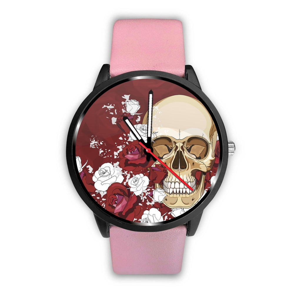 Skull Obsession Watch Mens 40mm / Pink Red Roses Skull Watch