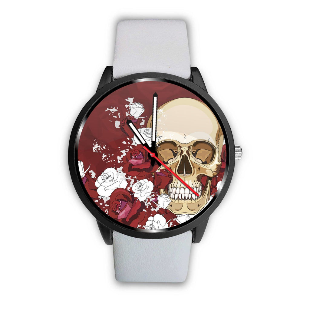 Skull Obsession Watch Mens 40mm / White Red Roses Skull Watch