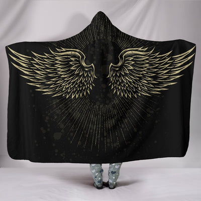 Skull Obsession Wings Dark Hooded Blanket