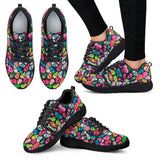 Skull Obsession Women's Athletic Sneakers - Black - W / Women US5 (EU35) Colorful SKULL Athletic Sneakers