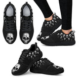 Skull Obsession Women's Athletic Sneakers - Black - W / Women US5 (EU35) Hand drawn skull Athletic Sneakers