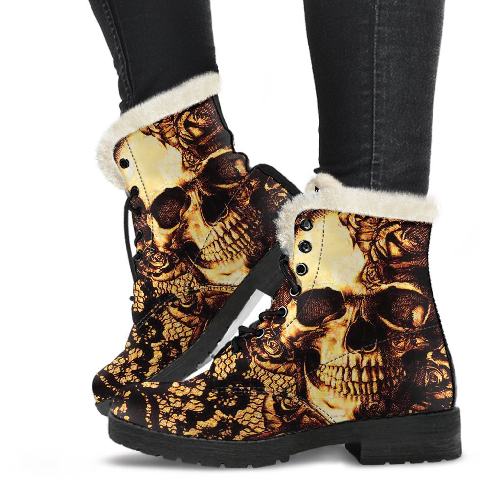 Gold Skull Lace Printed Boots - Skull Obsession
