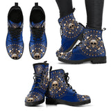 Skull Obsession Women's Leather Boots - Black - Blue / US5 (EU35) Women's Colored Skulls & Bones Boots