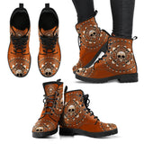 Skull Obsession Women's Leather Boots - Black - Brown / US5 (EU35) Women's Colored Skulls & Bones Boots