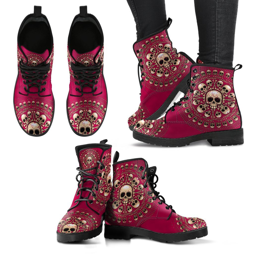 Skull Obsession Women's Leather Boots - Black - Dark Pink / US5 (EU35) Women's Colored Skulls & Bones Boots