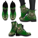 Skull Obsession Women's Leather Boots - Black - Green / US5 (EU35) Women's Colored Skulls & Bones Boots
