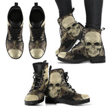 Skull Obsession Women's Leather Boots - Black - W / Women US5 (EU35) Skull with Ornamental Composition Boots