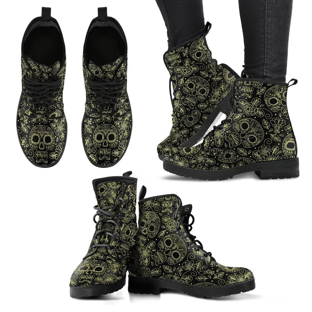 Skull Obsession Women's Leather Boots - Black - W / Women US5 (EU35) Yellow Skulls boots
