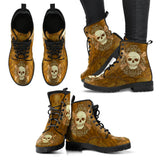 Skull Obsession Women's Leather Boots / Women's US5 (EU35) Brown Starred Skull Boots