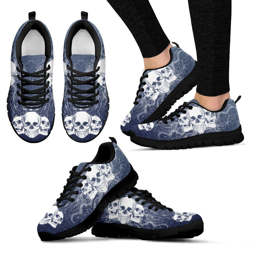 Skull Obsession Women's Sneakers - Black - BLUE JEANS / US5 (EU35) Triple Skull Women's Sneakers I