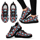 Skull Obsession Women's Sneakers - Black - Blue & Red Sneakers / US5 (EU35) Blue & Red Sneakers
