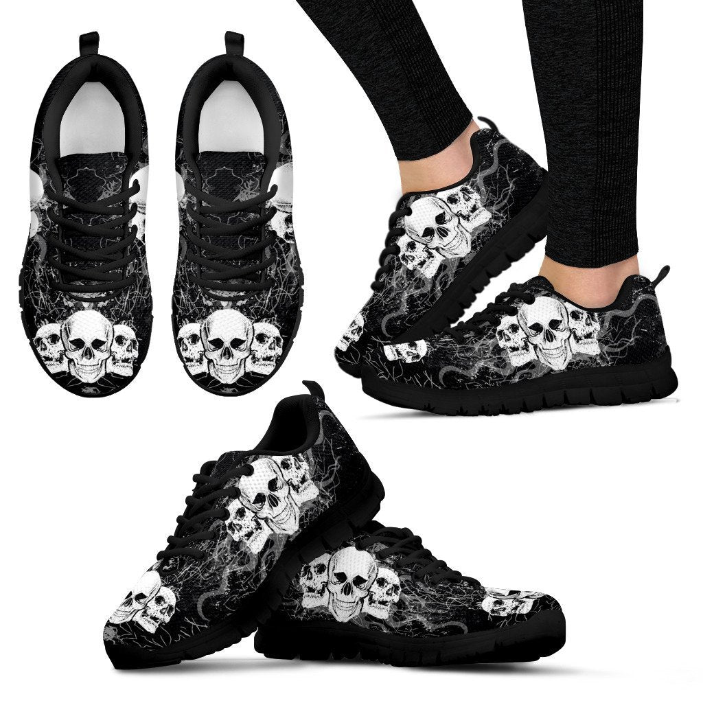 Skull Obsession Women's Sneakers - Black - DARK GRAY JEANS / US5 (EU35) Triple Skull Women's Sneakers I