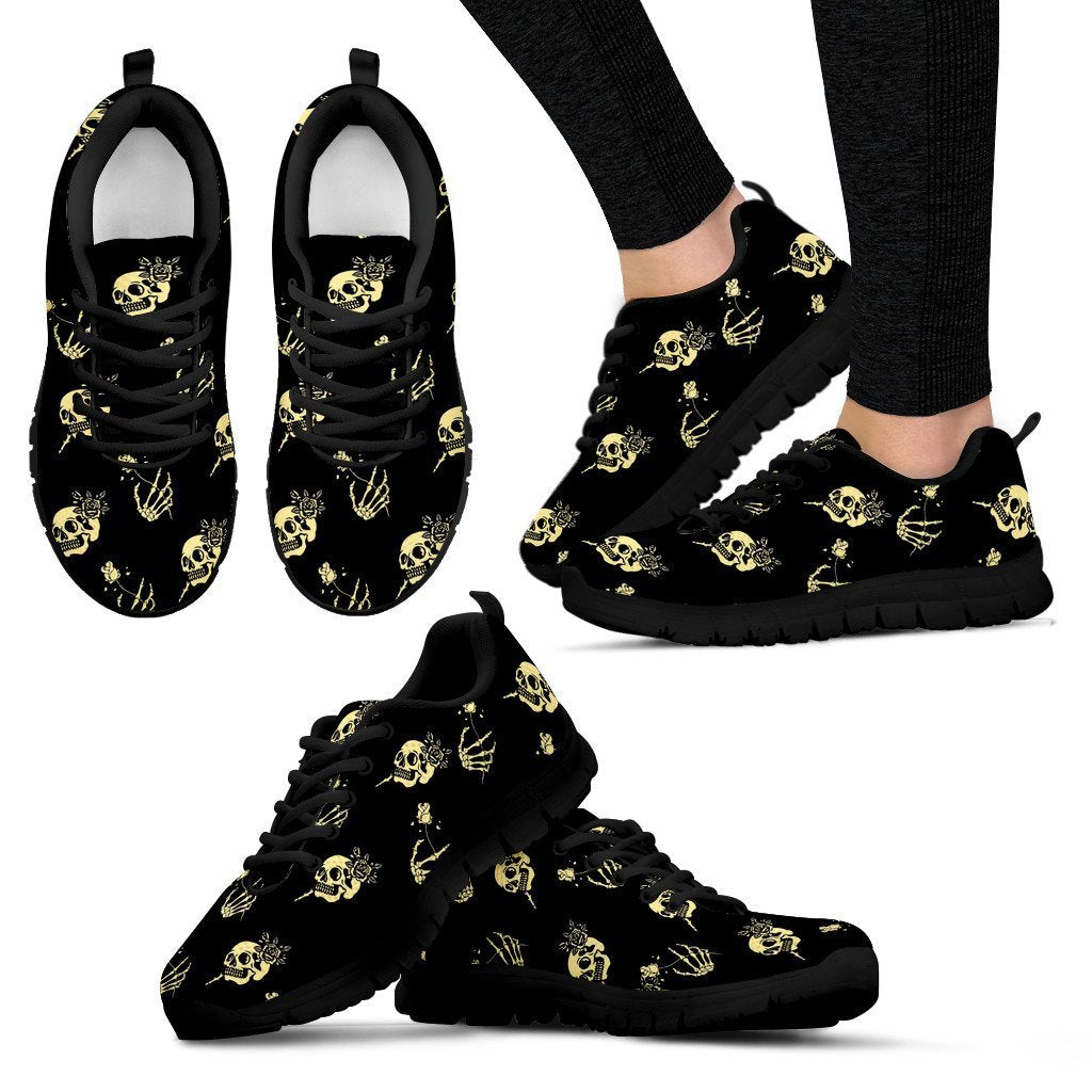 Skull Obsession Women's Sneakers - Black - light yellow / US5 (EU35) SKELETON & ROSES SNEAKERS